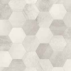 Betonaxis White / Grey Hexagon